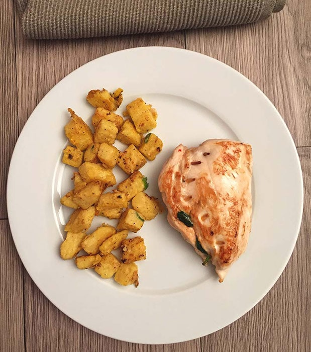 Gevulde kip met knapperige polenta - Karlijnskitchen.com