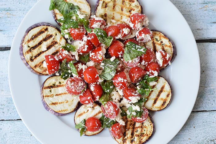 Grilled eggplant with feta and tomato (low FODMAP and ...